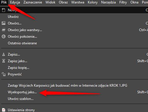 zapisujemy obrazek w png wybierajac opcje wyeksportuj w gimp